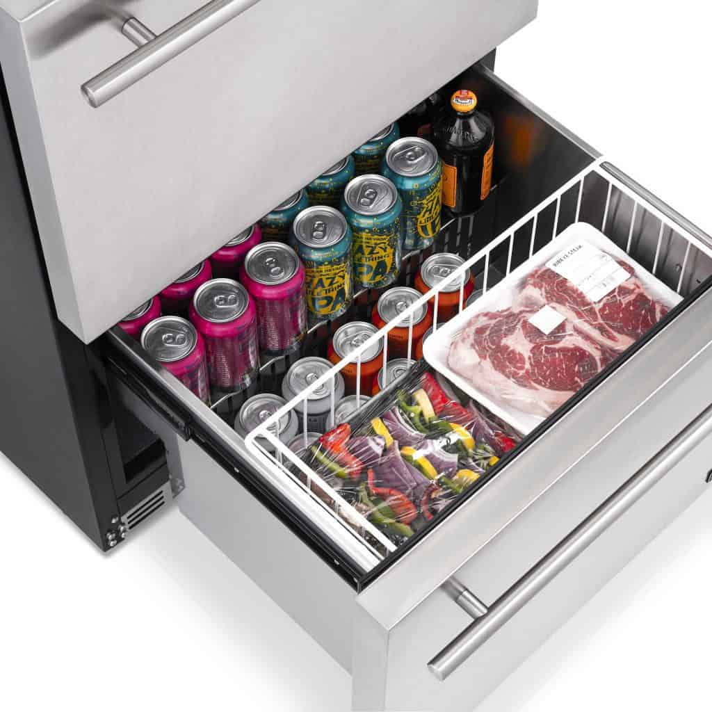 """NewAir 24"""" Indoor/Outdoor Wine and Beverage Fridge can store your beverages or food"""