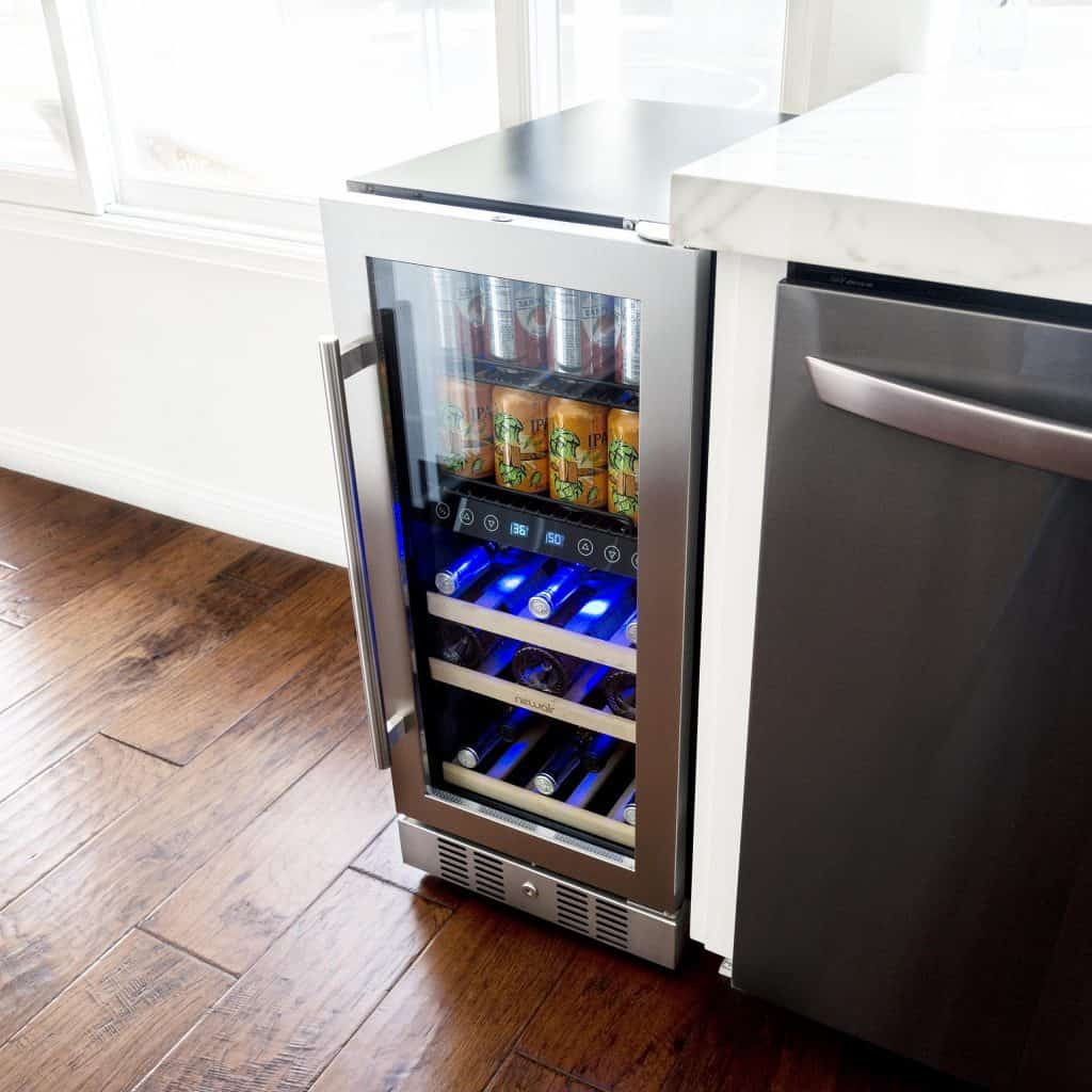 """NewAir 15"""" Premium Built-in Dual-Zone 9 Bottle and 48 Can Wine and Beverage Fridge is a beautiful design in our kitchen."""