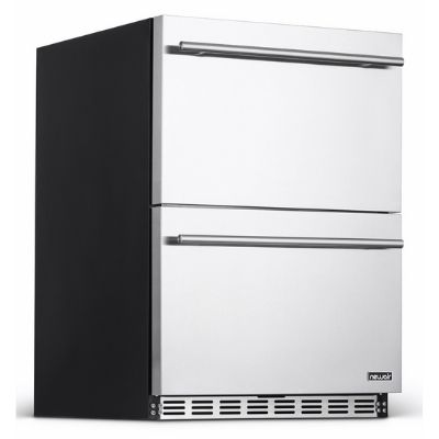 """NewAir 24"""" Built-in 20 Bottle and 80 Can Dual Drawer Indoor/Outdoor Wine and Beverage Fridge"""