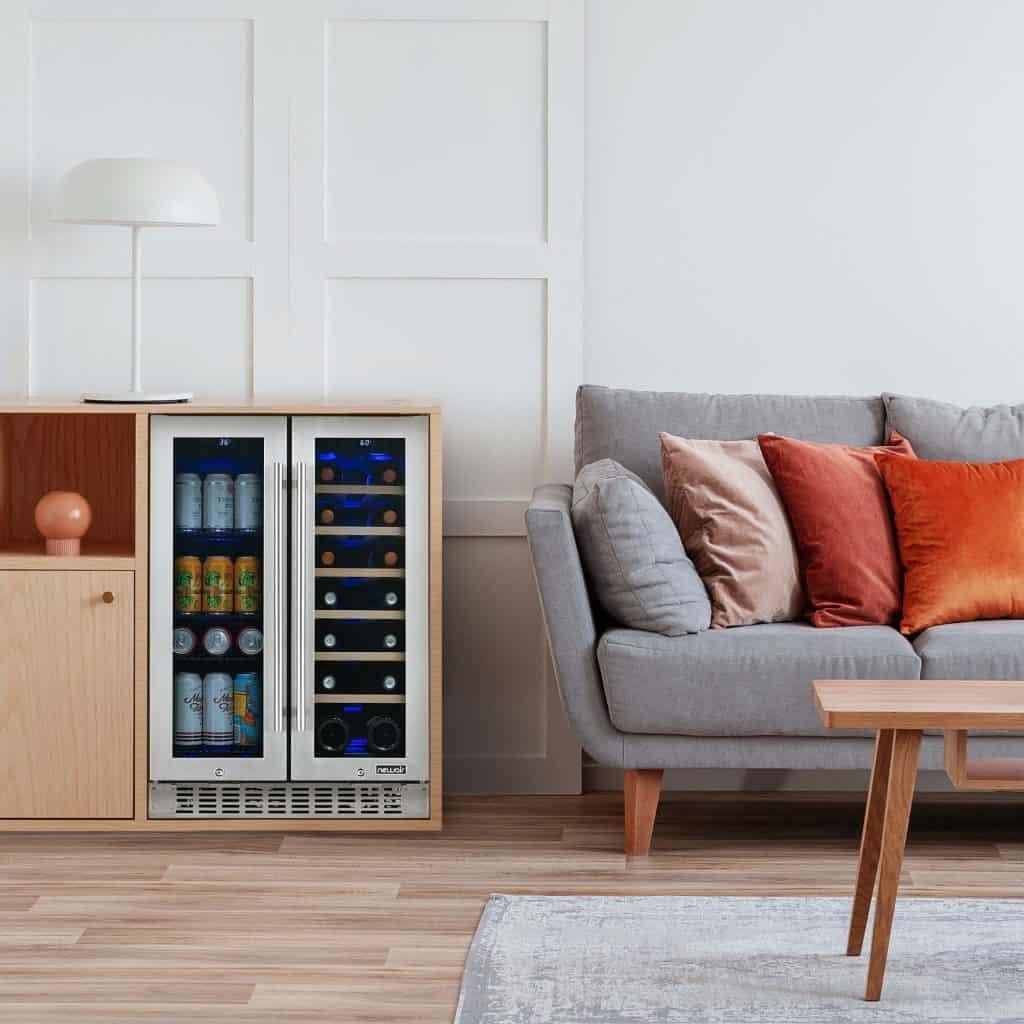 The NewAir French Door Wine and Beverage Fridge