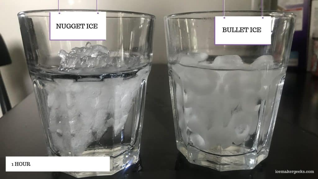 nugget ice vs bullet ice - melting test