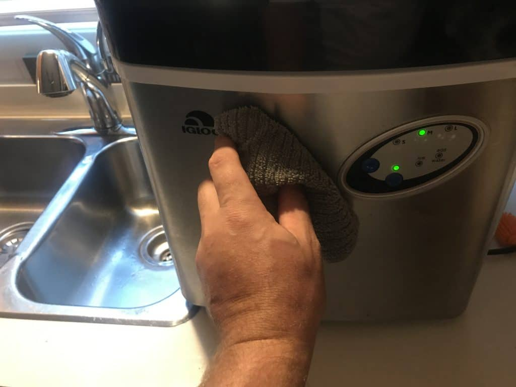 Clean the outside of your portable ice maker