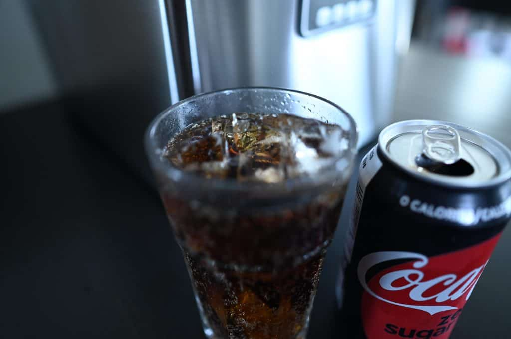 Euhomy Countertop Clear Ice Maker and a can of Coke Zero
